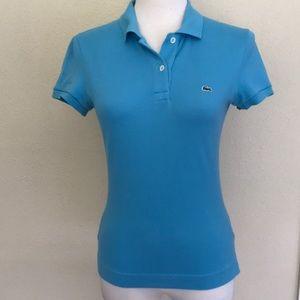 Izod LaCoste blue pique knit polo shirt XS 36